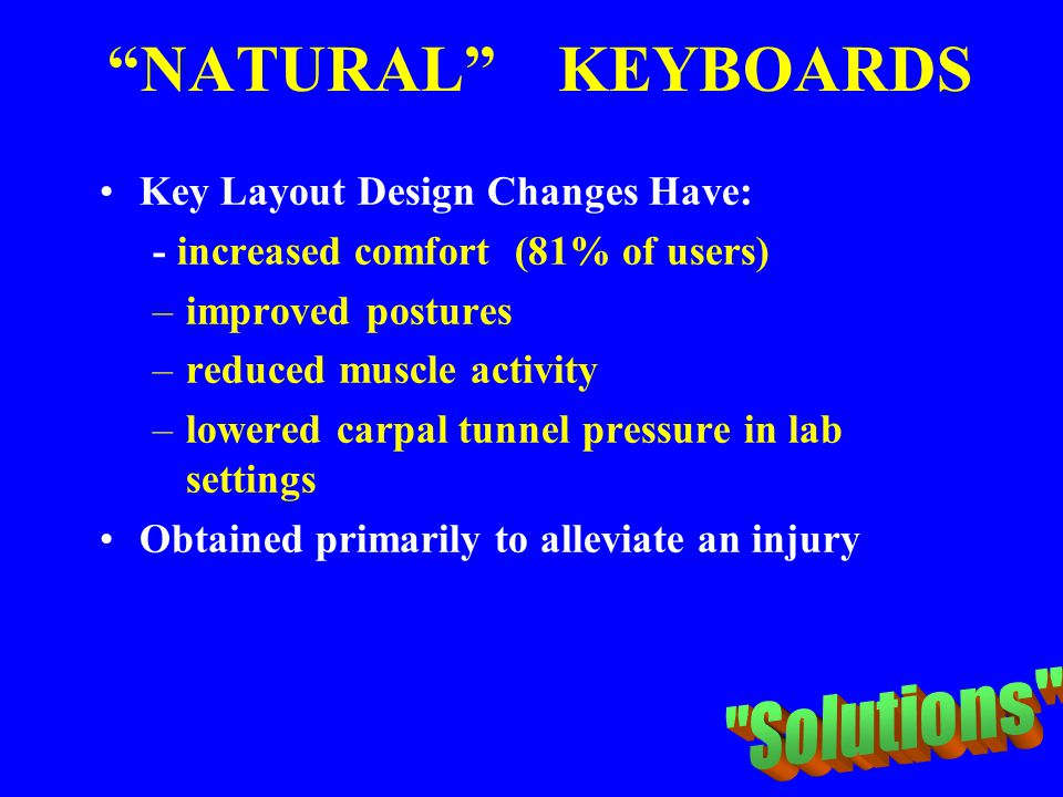 NATURAL KEYBOARDS Solutions Key Layout Design Changes Have: