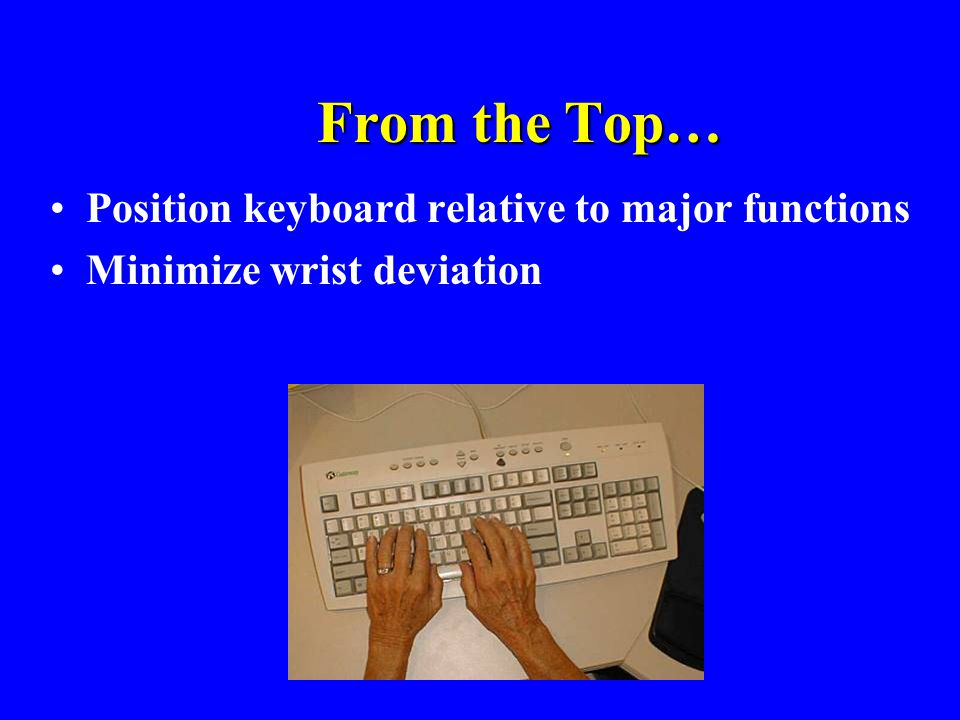 From the Top… Position keyboard relative to major functions