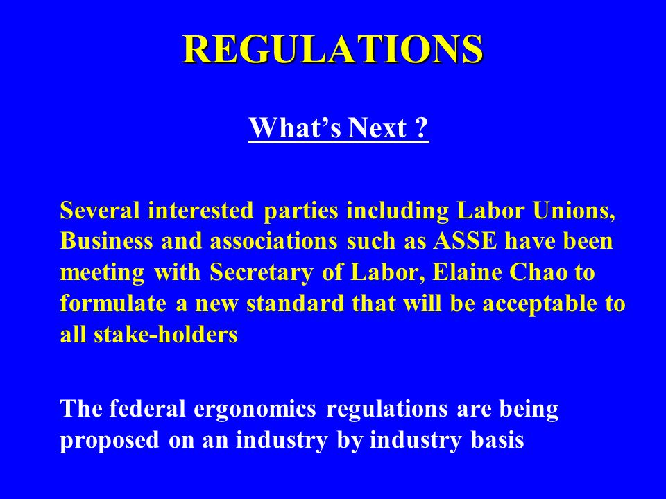 REGULATIONS What's Next