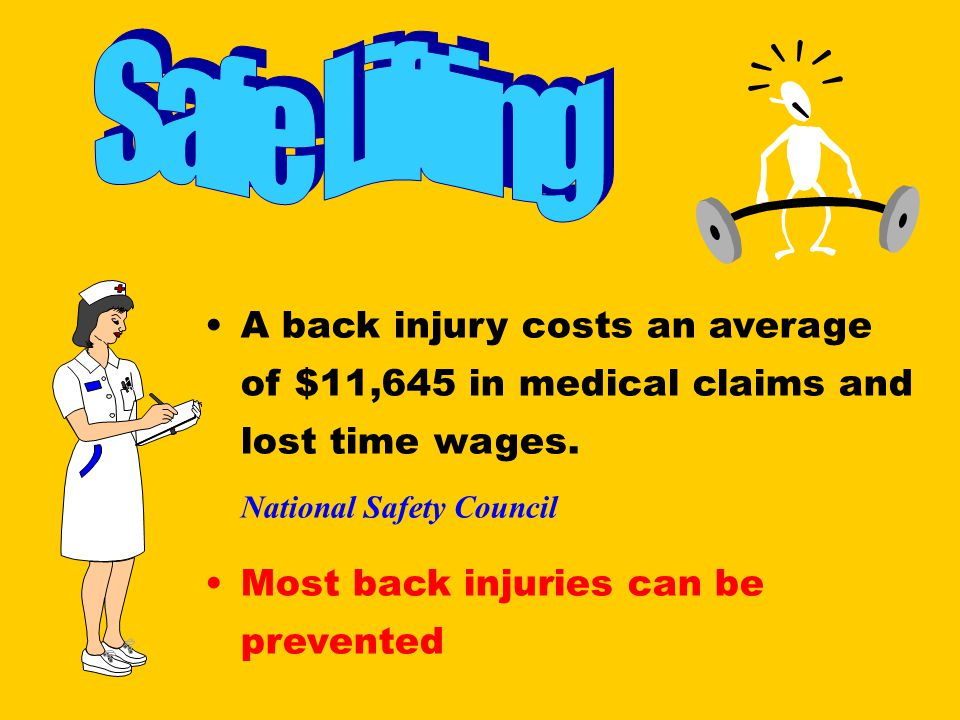 Safe Lifting A back injury costs an average of $11,645 in medical claims and lost time wages. National Safety Council.