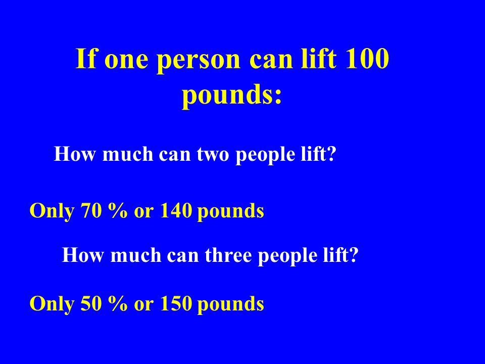 If one person can lift 100 pounds: