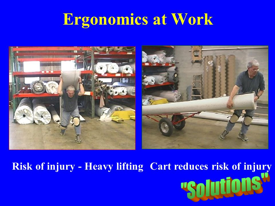 Ergonomics at Work Solutions Risk of injury - Heavy lifting