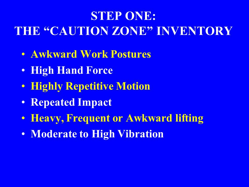 STEP ONE: THE CAUTION ZONE INVENTORY