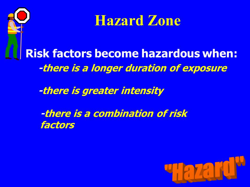 Hazard Zone Hazard Risk factors become hazardous when: