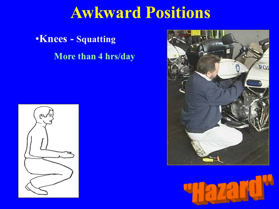 Awkward Positions Knees - Squatting More than 4 hrs/day Hazard