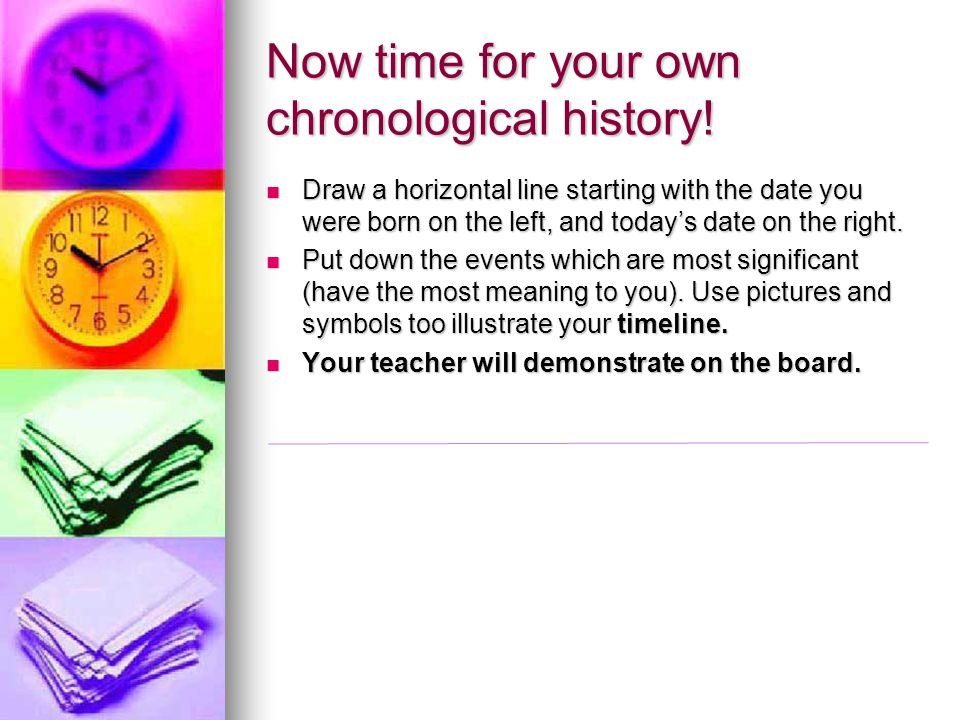 Now time for your own chronological history!