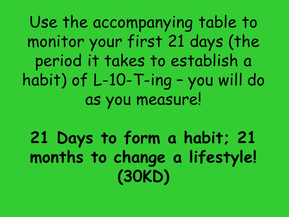 21 Days to form a habit; 21 months to change a lifestyle! (30KD)