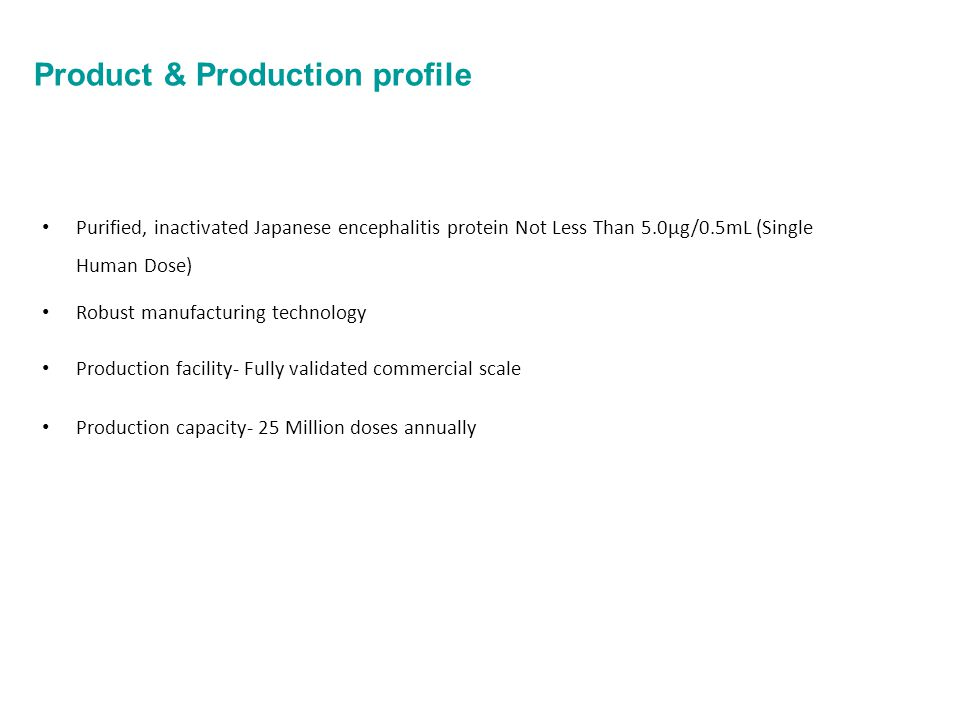 Product & Production profile