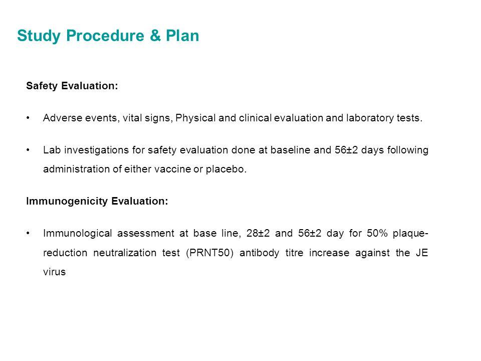 Study Procedure & Plan Safety Evaluation:
