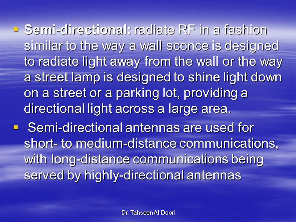 Semi-directional: radiate RF in a fashion similar to the way a wall sconce is designed to radiate light away from the wall or the way a street lamp is designed to shine light down on a street or a parking lot, providing a directional light across a large area.