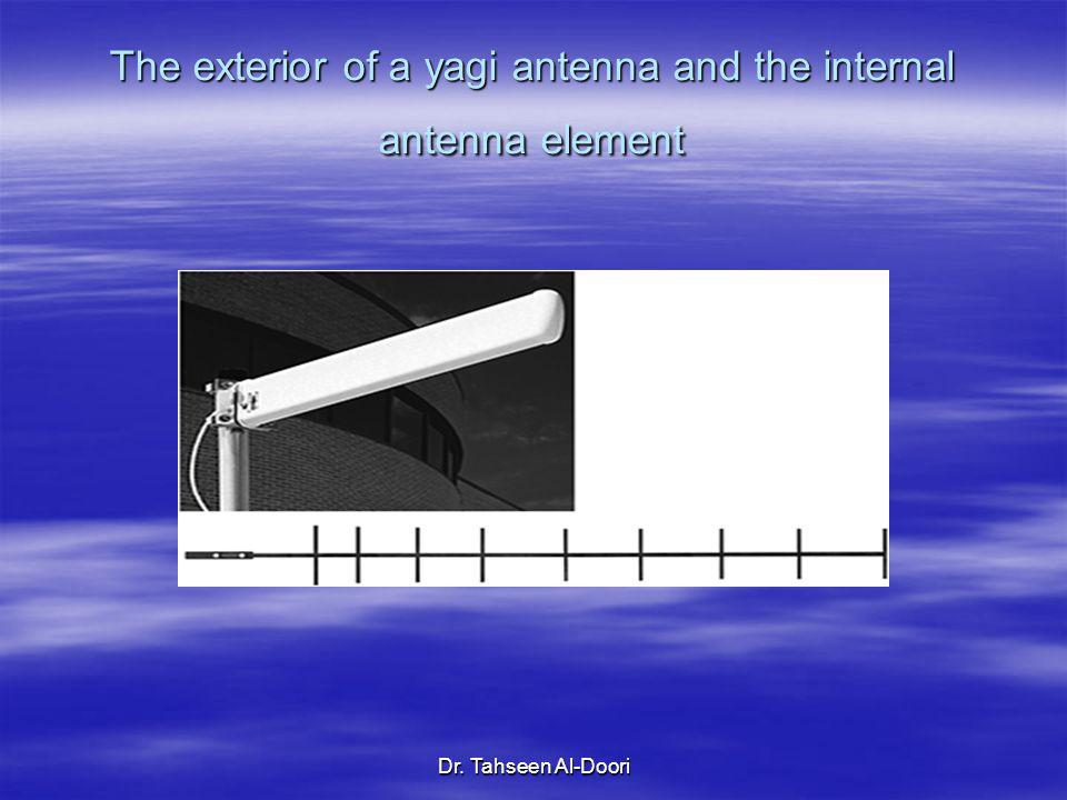 The exterior of a yagi antenna and the internal antenna element