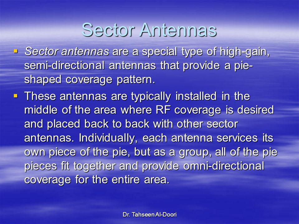Sector Antennas Sector antennas are a special type of high-gain, semi-directional antennas that provide a pie-shaped coverage pattern.