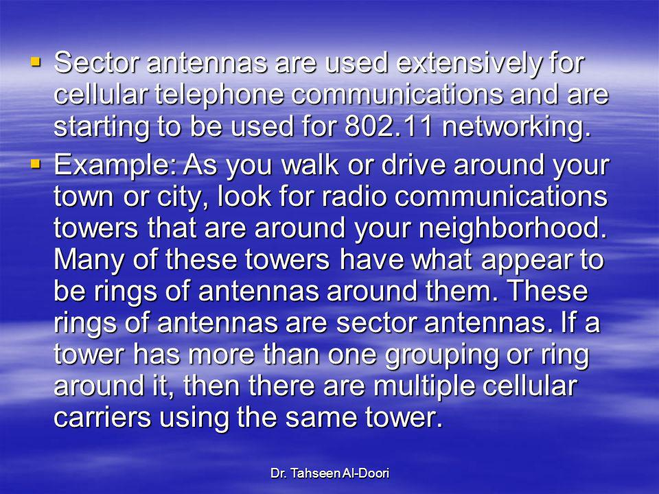 Sector antennas are used extensively for cellular telephone communications and are starting to be used for 802.11 networking.