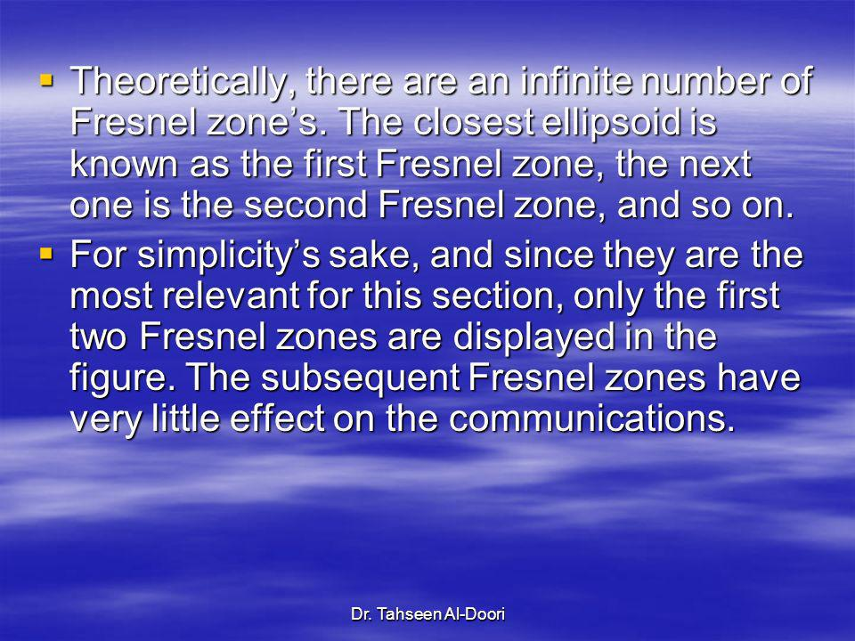Theoretically, there are an infinite number of Fresnel zone's