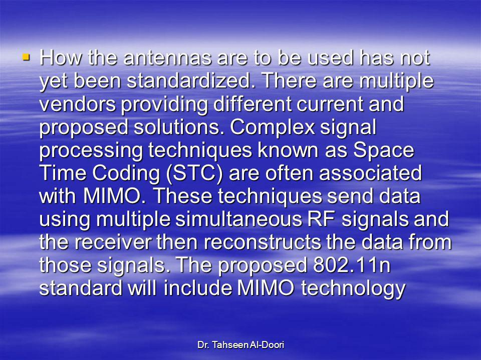 How the antennas are to be used has not yet been standardized