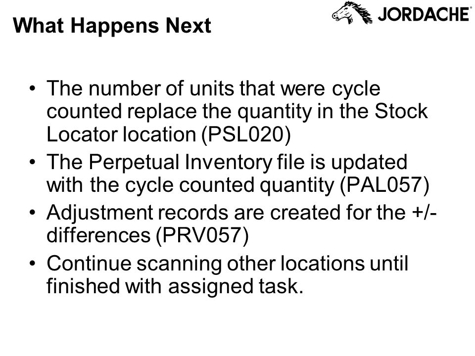 What Happens Next The number of units that were cycle counted replace the quantity in the Stock Locator location (PSL020)