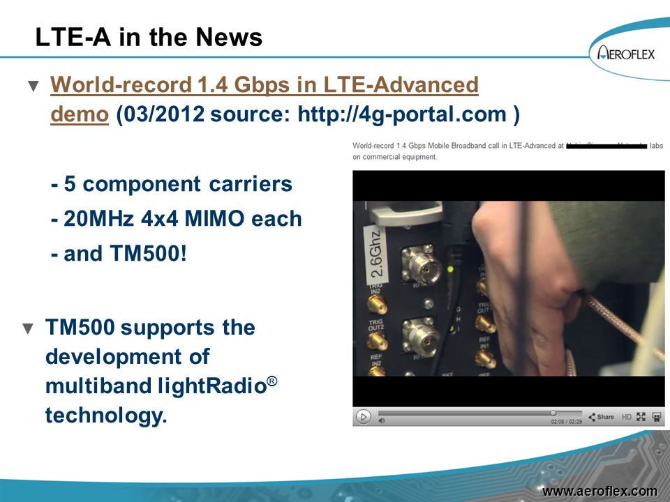 LTE-A in the News World-record 1.4 Gbps in LTE-Advanced demo (03/2012 source: http://4g-portal.com )