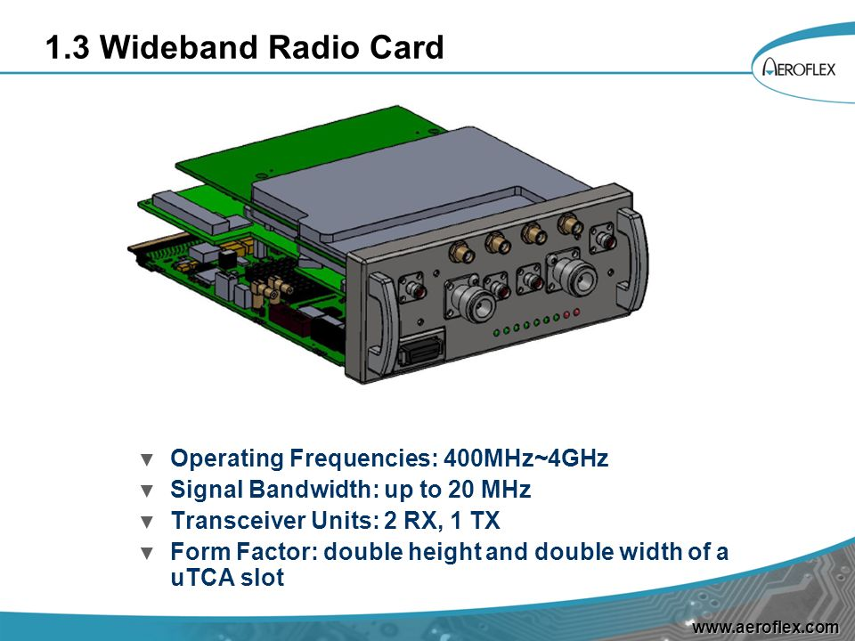 1.3 Wideband Radio Card Operating Frequencies: 400MHz~4GHz