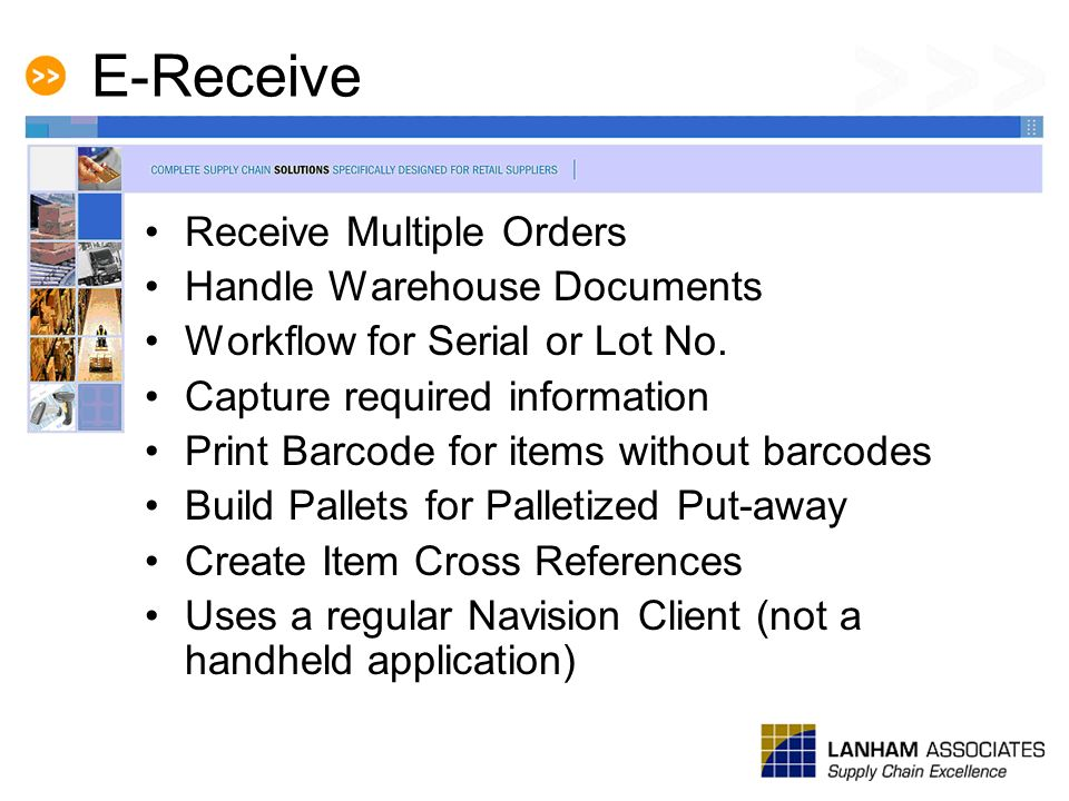 E-Receive Receive Multiple Orders Handle Warehouse Documents