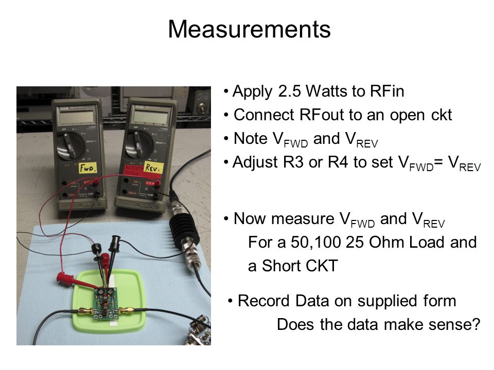 Measurements Apply 2.5 Watts to RFin Connect RFout to an open ckt