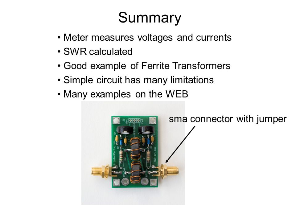 Summary Meter measures voltages and currents SWR calculated