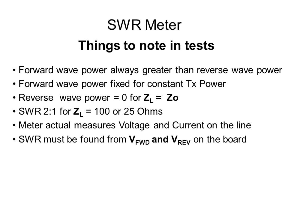 SWR Meter Things to note in tests