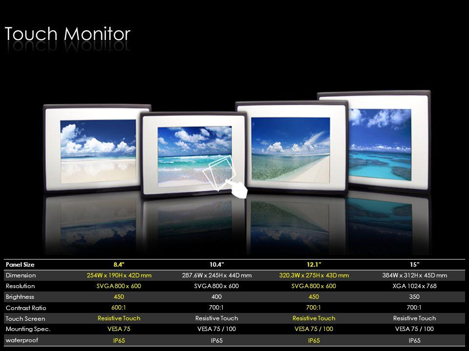 Panel Size 8.4 10.4 12.1 15 Dimension. 254W x 190H x 42D mm. 287.6W x 245H x 44D mm. 320.3W x 275H x 43D mm.
