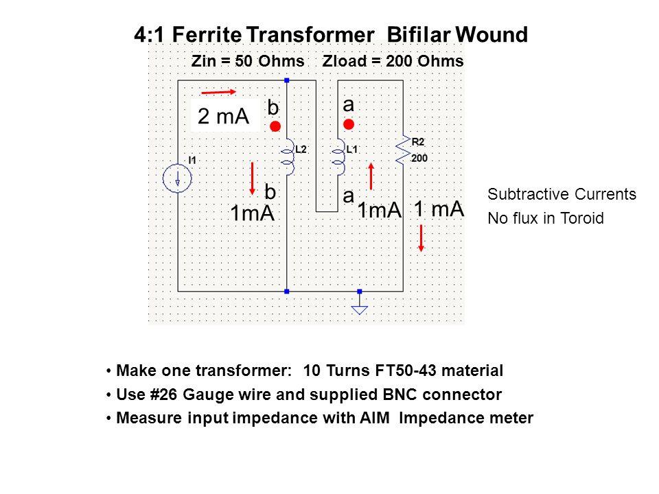 4:1 Ferrite Transformer Bifilar Wound