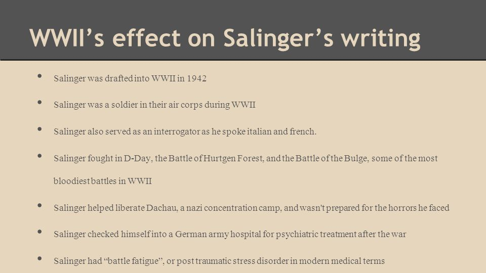 WWII's effect on Salinger's writing