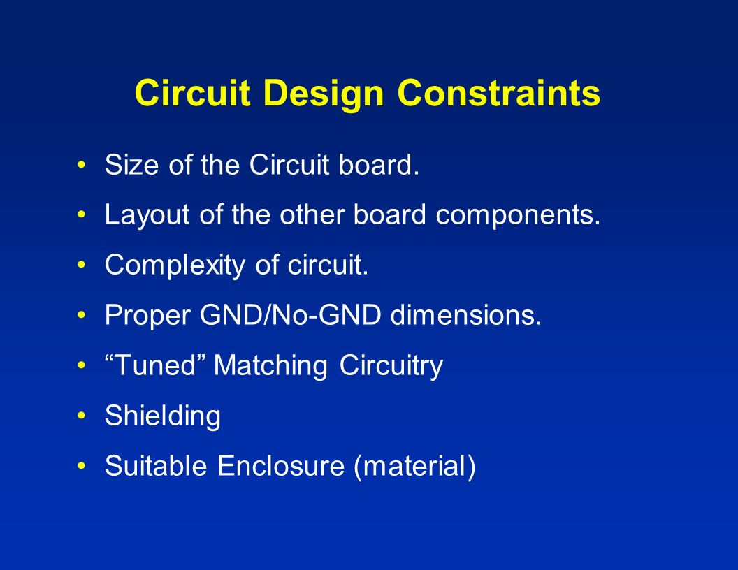 Circuit Design Constraints