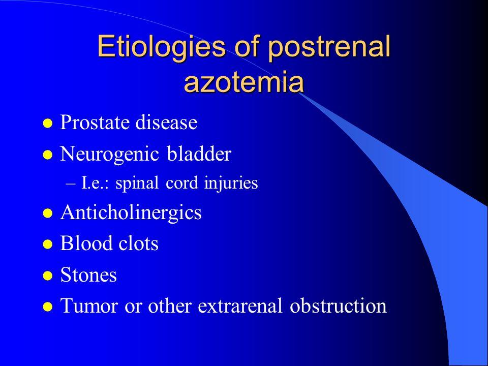 Etiologies of postrenal azotemia
