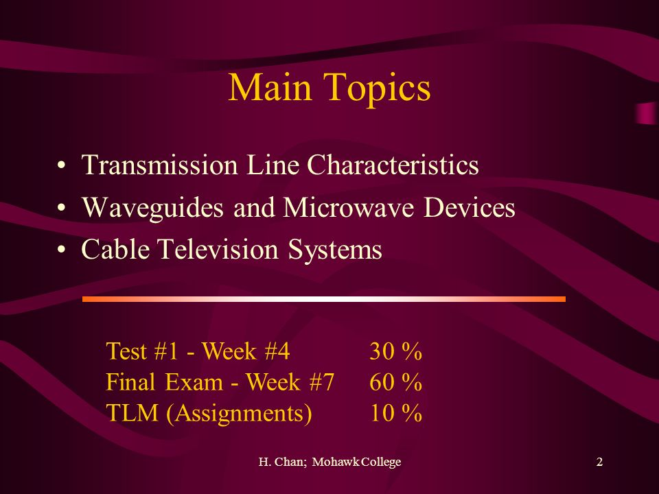 Main Topics Transmission Line Characteristics