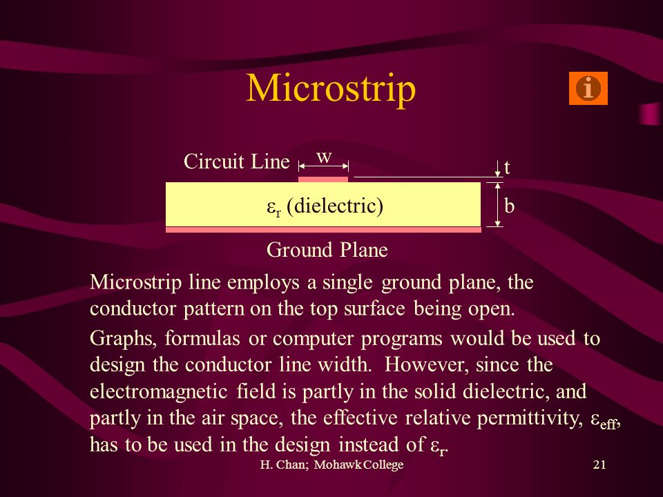 Microstrip w Circuit Line t r (dielectric) b Ground Plane