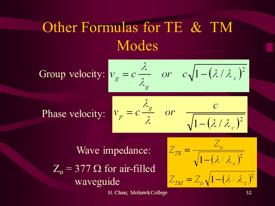 Other Formulas for TE & TM Modes
