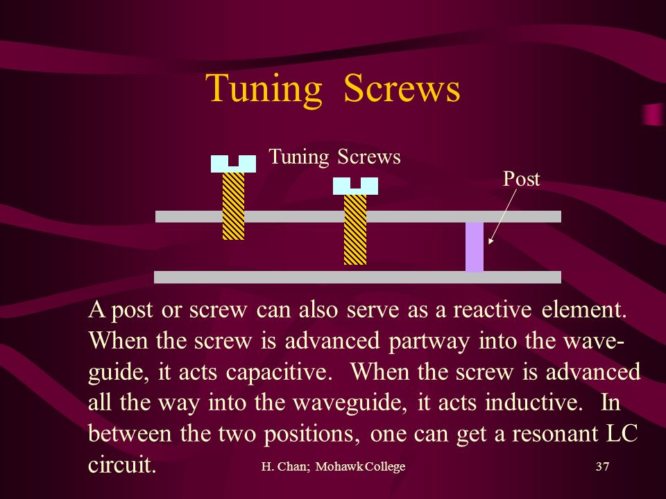 Tuning Screws A post or screw can also serve as a reactive element.