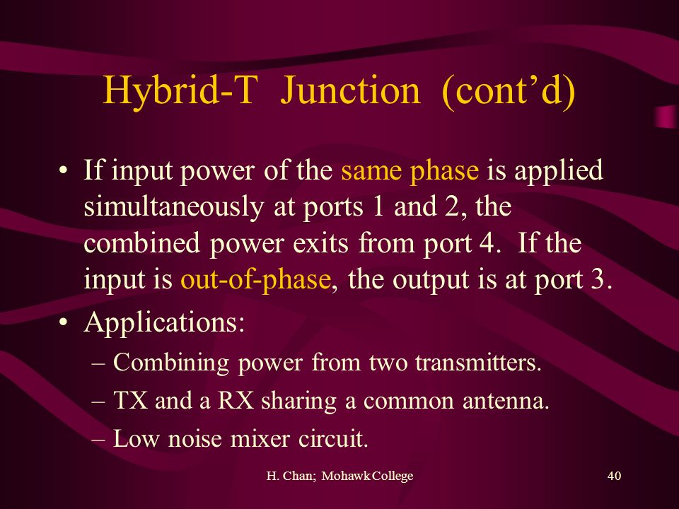 Hybrid-T Junction (cont'd)