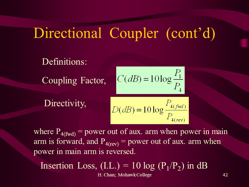 Directional Coupler (cont'd)