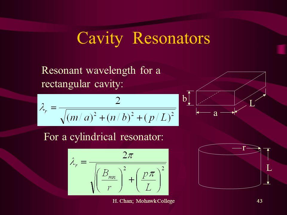 Cavity Resonators Resonant wavelength for a rectangular cavity: