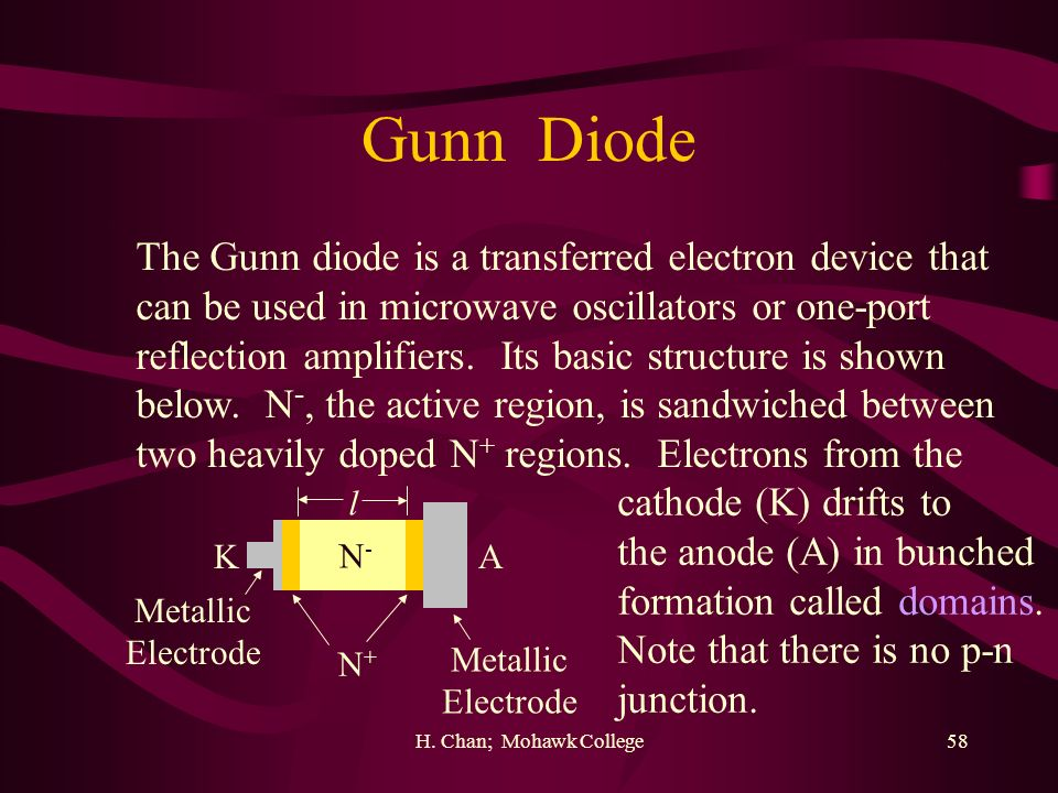 Gunn Diode The Gunn diode is a transferred electron device that