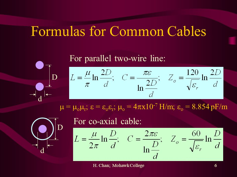 Formulas for Common Cables