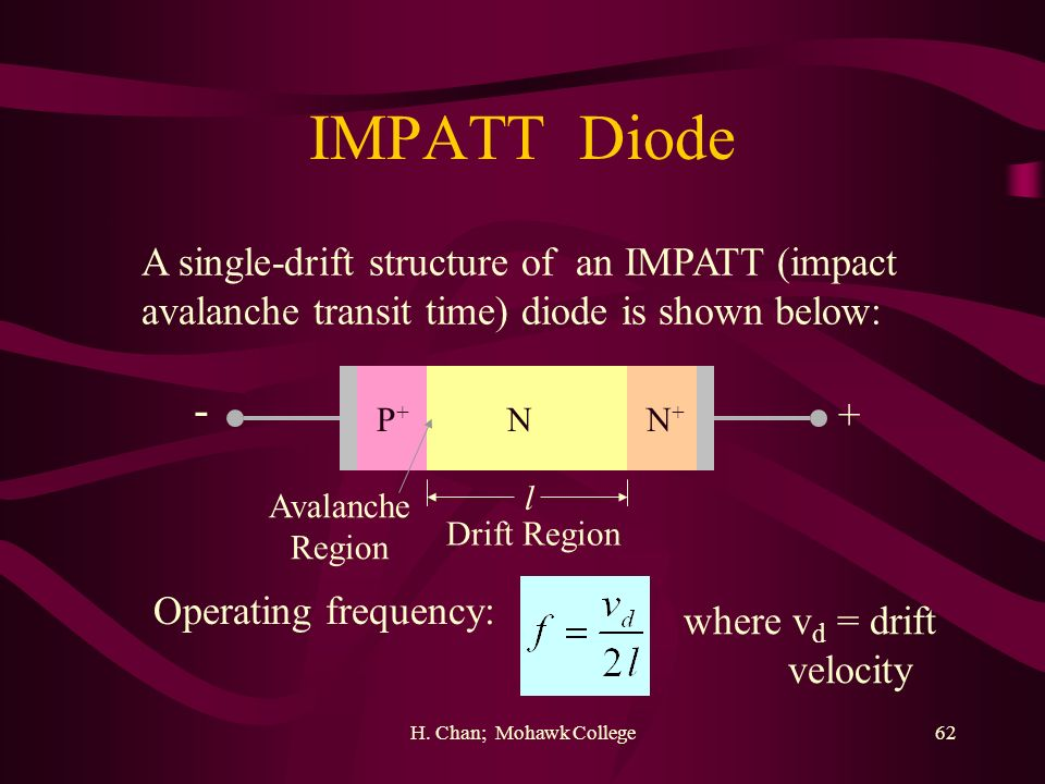 IMPATT Diode - A single-drift structure of an IMPATT (impact