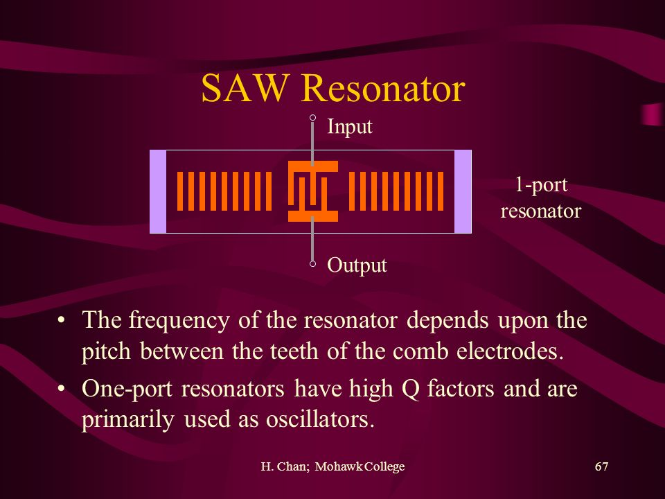 SAW Resonator Input. 1-port. resonator. Output. The frequency of the resonator depends upon the pitch between the teeth of the comb electrodes.