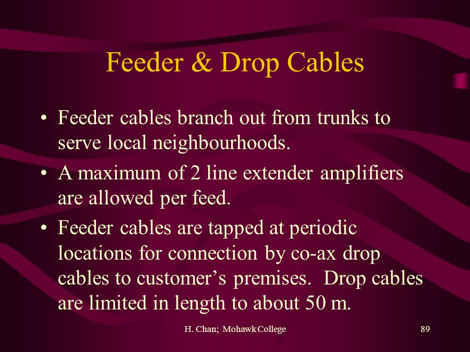 Feeder & Drop Cables Feeder cables branch out from trunks to serve local neighbourhoods.