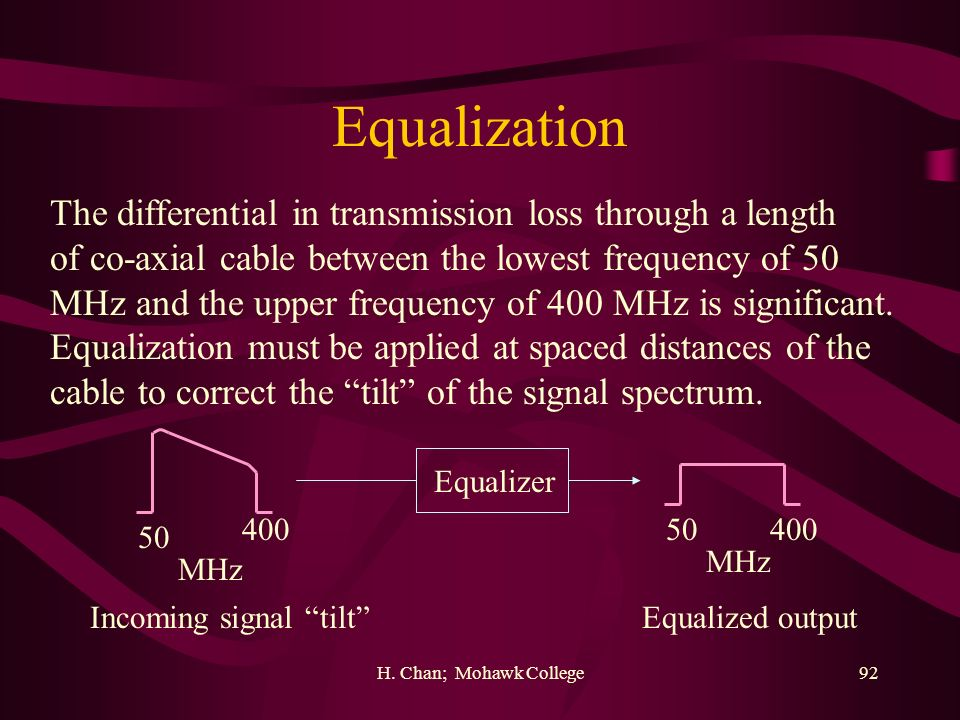 Equalization The differential in transmission loss through a length