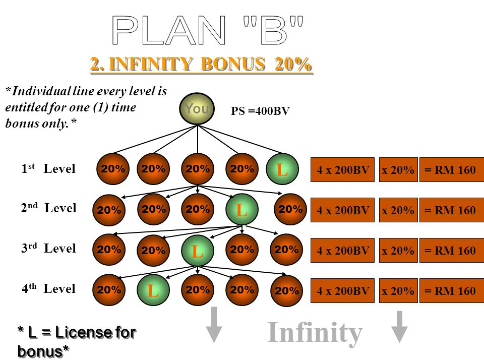 Infinity PLAN B 2. INFINITY BONUS 20% L L L L