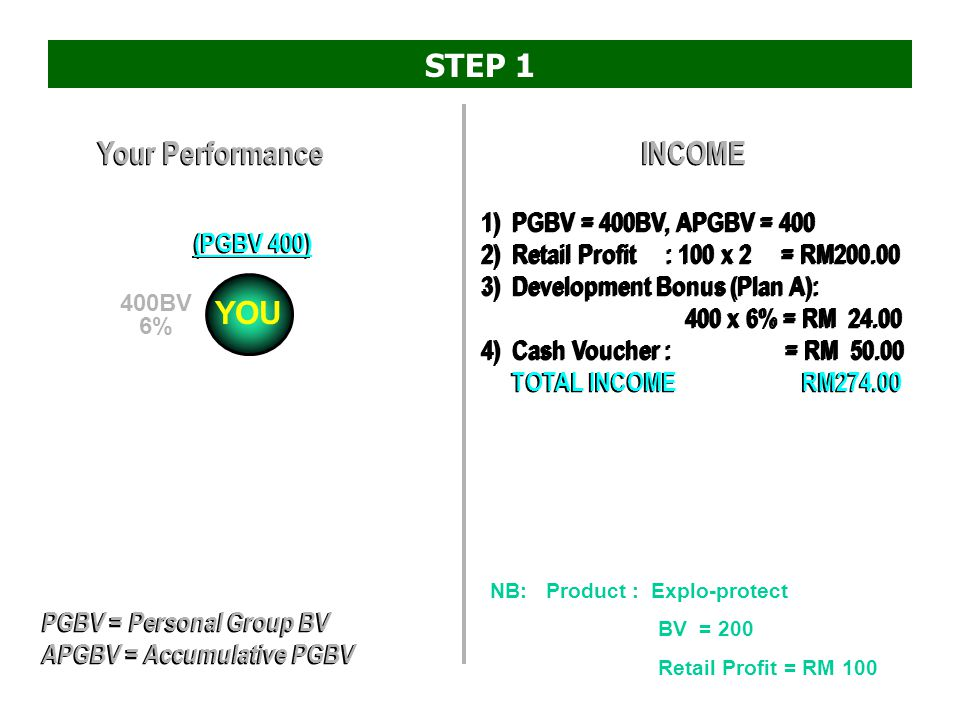 STEP 1 Your Performance INCOME YOU