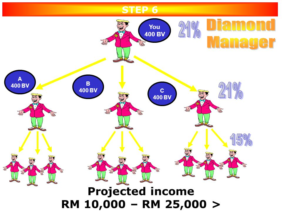 Diamond 21% Manager 21% 15% Projected income