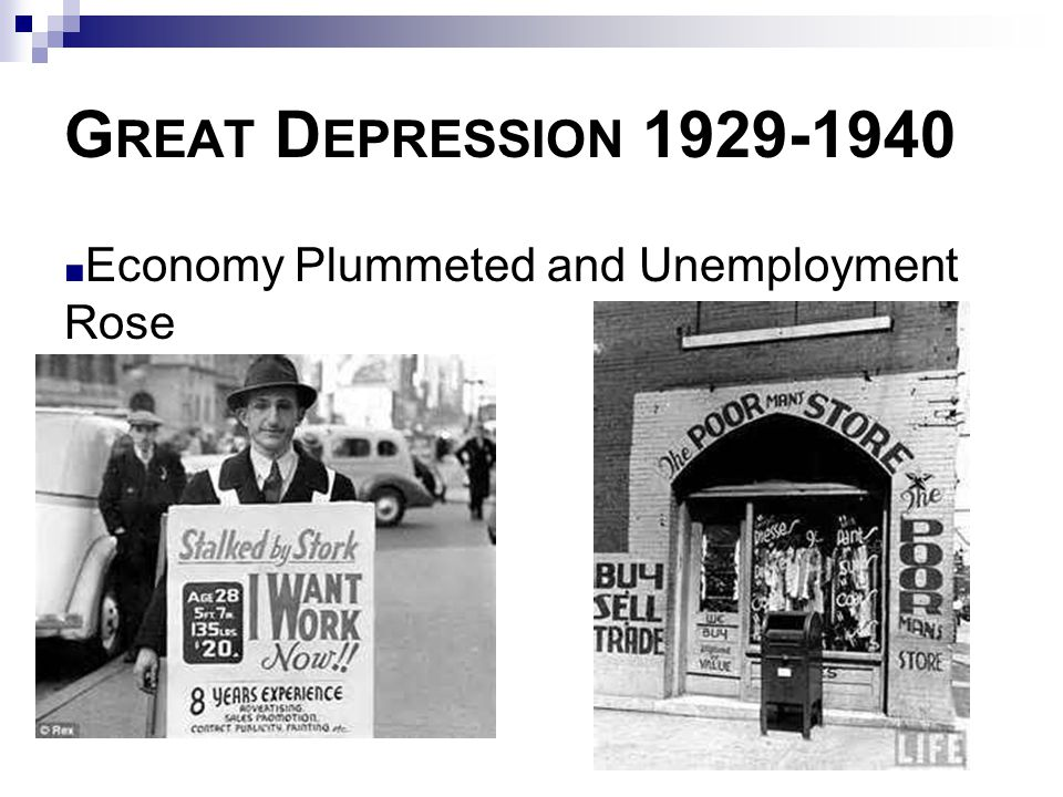 Great Depression 1929-1940 Economy Plummeted and Unemployment Rose