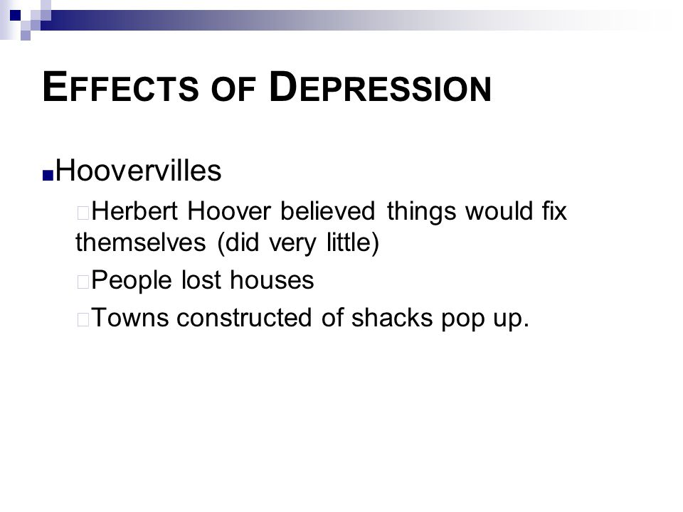 Effects of Depression Hoovervilles