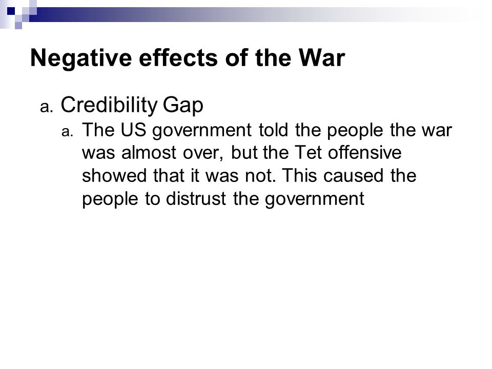 Negative effects of the War